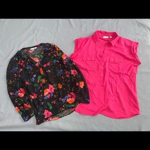 Two blouses, pink Ny and co, floral old navy